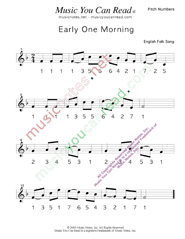 "Click to Enlarge: ""Early One Morning"" Pitch Number Format"