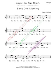 "Click to Enlarge: ""Early One Morning"" Solfeggio Format"