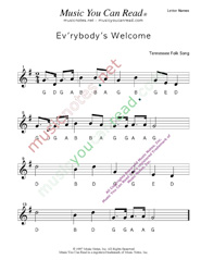 "Click to Enlarge: ""Ev'rybody's Welcome"" Letter Names Format"