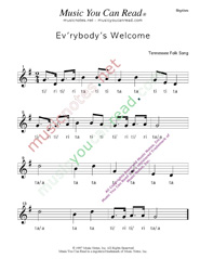 "Click to Enlarge: ""Ev'rybody's Welcome"" Rhythm Format"