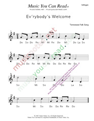 "Click to Enlarge: ""Ev'rybody's Welcome"" Solfeggio Format"