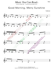 """Good Morning, Merry Sunshine"" Music Format"