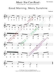 "Click to Enlarge: ""Good Morning, Merry Sunshine"" Pitch Number Format"