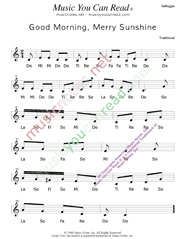 "Click to Enlarge: ""Good Morning, Merry Sunshine"" Solfeggio Format"