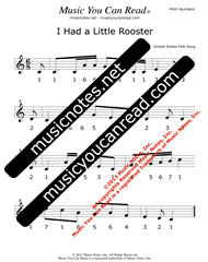 "Click to Enlarge: ""I Had a Little Rooster"" Pitch Number Format"