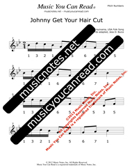 "Click to Enlarge: ""Johnny Get Your Hair Cut"" Pitch Number Format"