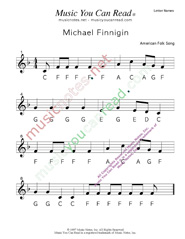 "Click to Enlarge: ""Michael Finnigan"" Letter Names Format"