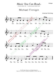 "Click to Enlarge: ""Michael Finnigan"" Solfeggio Format"