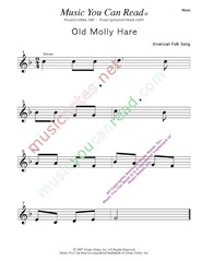 """Old Molly Hare"" Music Format"