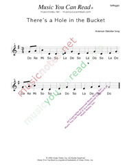 "Click to Enlarge: ""There's a Hole in the Bucket"" Solfeggio Format"