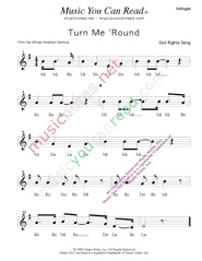 "Click to Enlarge: ""Turn Me 'Round"" Solfeggio Format"