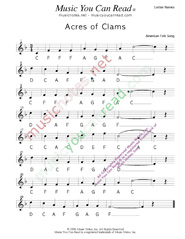 """Click to Enlarge: """"Acres of Clams"""" Letter Names Format"""