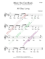"Click to Enlarge: ""All Day Long"" Solfeggio Format"