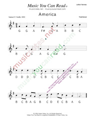 "Click to Enlarge: ""America"" Letter Names Format"