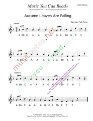 "Click to Enlarge: ""Autumn Leaves Are Falling"" Letter Names Format"