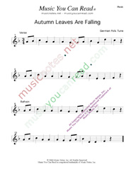 """Autumn Leaves Are Falling"" Music Format"