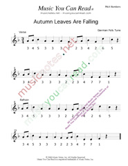 "Click to Enlarge: ""Autumn Leaves Are Falling"" Pitch Number Format"