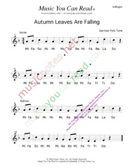 "Click to Enlarge: ""Autumn Leaves Are Falling"" Solfeggio Format"
