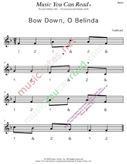"Click to enlarge: ""Bow Down, O Belinda"" Beats Format"