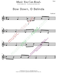 """Bow Down, O Belinda"" Music Format"
