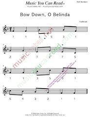 "Click to Enlarge: ""Bow Down, O Belinda"" Pitch Number Format"