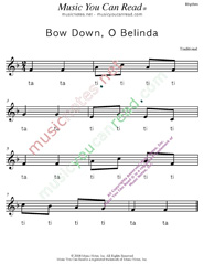 "Click to Enlarge: ""Bow Down, O Belinda"" Rhythm Format"