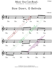 "Click to Enlarge: ""Bow Down, O Belinda"" Solfeggio Format"