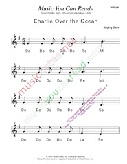 "Click to Enlarge: ""Charlie Over the Ocean"" Solfeggio Format"