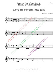 """Come on Through Miss Sally"" Music Format"