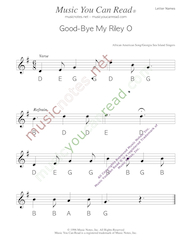 "Click to Enlarge: ""Good-Bye My Riley O"" Letter Names Format"