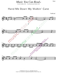 """Hand Me Down My Walkin' Cane"" Music Format"