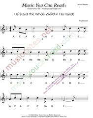 "Click to Enlarge: ""He's Got the Whole World in His Hands"" Letter Names Format"