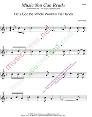 """He's Got the Whole World in His Hands"" Music Format"