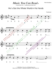 "Click to Enlarge: ""He's Got the Whole World in His Hands"" Pitch Number Format"