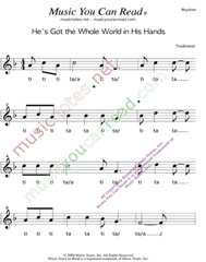 "Click to Enlarge: ""He's Got the Whole World in His Hands"" Rhythm Format"
