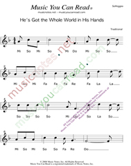 "Click to Enlarge: ""He's Got the Whole World in His Hands"" Solfeggio Format"