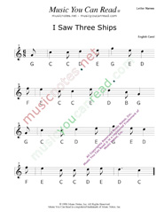 "Click to Enlarge: ""I Saw Three Ships"" Letter Names Format"