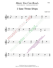 """I Saw Three Ships"" Music Format"