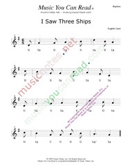 "Click to Enlarge: ""I Saw Three Ships"" Rhythm Format"
