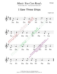 "Click to Enlarge: ""I Saw Three Ships"" Solfeggio Format"