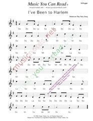 "Click to Enlarge: ""I've Been to Harlem"" Solfeggio Format"