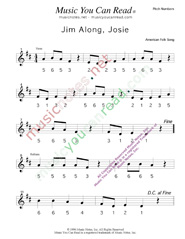 "Click to Enlarge: ""Jim Along Josie"" Pitch Number Format"