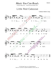 "Click to Enlarge: ""Little Red Caboose"" Rhythm Format"
