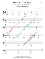 "Click to Enlarge: ""Lovely Evening"" Solfeggio Format"