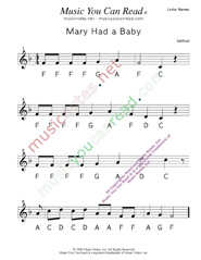 "Click to Enlarge: ""Mary Had a Baby"" Letter Names Format"