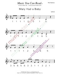 "Click to Enlarge: ""Mary Had a Baby"" Pitch Number Format"