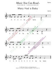 "Click to Enlarge: ""Mary Had a Baby"" Rhythm Format"