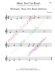 """Michael Row the Boat Ashore"" Music Format"