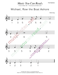 "Click to Enlarge: ""Michael Row the Boat Ashore"" Pitch Number Format"