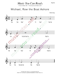 "Click to Enlarge: ""Michael Row the Boat Ashore"" Rhythm Format"